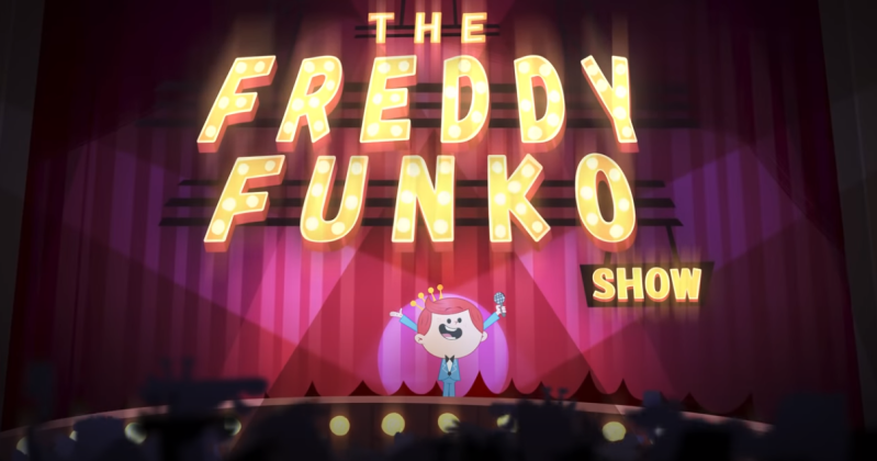The Freddy Funko Show opening slate - Freddy stands on a stage ready to start the show